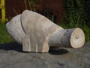 Fehér elefánt,mészkő, 32x25x60 cm